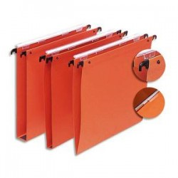 5 ETOILES Boîte de 25 dossiers suspendus TIROIR en kraft 220g. Fond 15, volet agrafage + pression. Orange