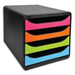 EXACOMPTA Module de classement Big-Box Noir Arlequin 4 tiroirs, en PS format A4+ L27,8 x H26,7 x P34,7 cm