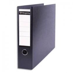 PERGAMY Classeur à levier en carton dos 8cm. Format A3 paysage (à l'italienne). Coloris noir