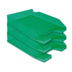 Corbeille courrier q-connect a rchivo documents a4 /24x32cm empilable 35x25.5x6.5cm coloris vert transparent