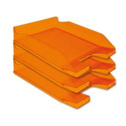 Corbeille courrier q-connect a rchivo documents a4 /24x32cm empilable 35x25.5x6.5cm coloris orange transparent