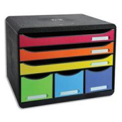 EXACOMPTA Module Store-Box Noir Arlequin 6 tiroirs PS, 3 formats A4+, 3 rangements L35,5 x H27,1 x P27 cm