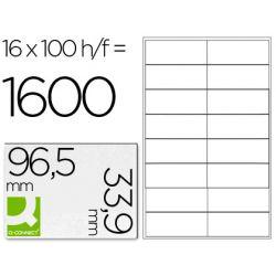 Étiquette adhésive q-connect 9 6.5x33.9mm coins droits imprimante jet encre laser copieur boîte 100f 1600u