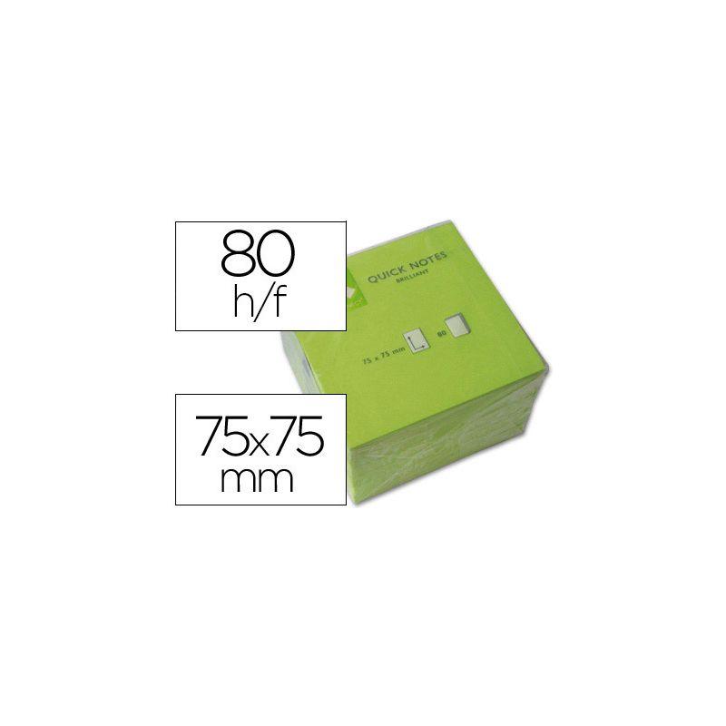 BLOC NOTES Q-CONNECT QUICK NOTES NÉON 75X75MM 80F REPOSITIONNABLES COLORIS VERT VIF