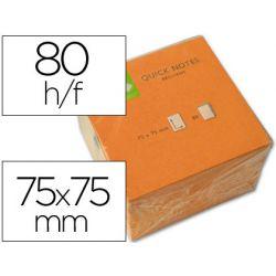 BLOC NOTES Q-CONNECT QUICK NOTES NÉON 75X75MM 80F REPOSITIONNABLES COLORIS ORANGE VID
