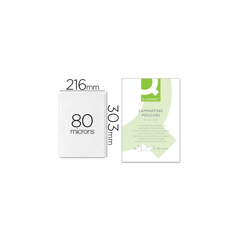 Pochette plastification q-connect à chaud économique format a4 80 microns boîte 100 unités.