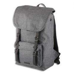 JUSCHA Sac à dos Rider polyester. Format 15 pouces dimensions 47x28x16cm. Corps gris, accessoires noirs