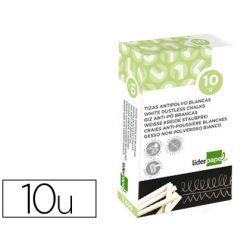 Craie liderpapel enrobée ronde anti-poussière tracé écriture douce hypoallergénique coloris blanc boîte 10u