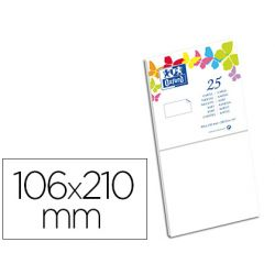 Carte oxford vélin 106x210mm 2 40g coloris blanc étui 25u