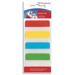 PERGAMY Blister de 4 x 24 index marque-pages larges 3,8 x 5,1 cm rigides. Coloris assortis classiques