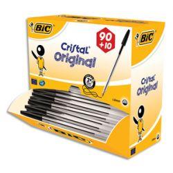 Bic pack 90 stylos bille cristal noir + 10 offerts, Pointe moyenne