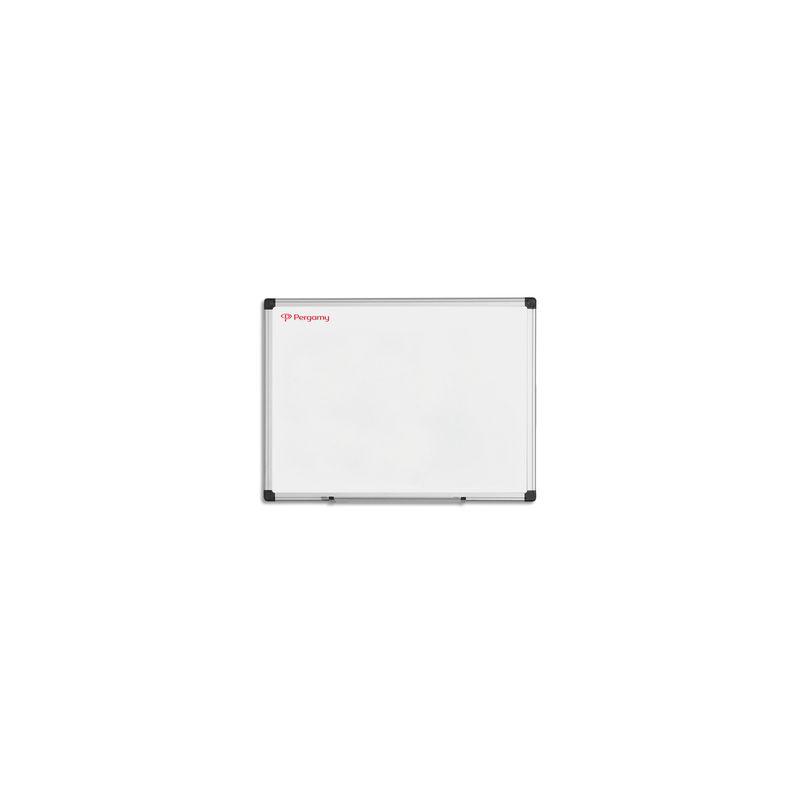 PERGAMY Tableau Blanc émaillé magnétique, cadre aluminium, Format L60 x H45 cm