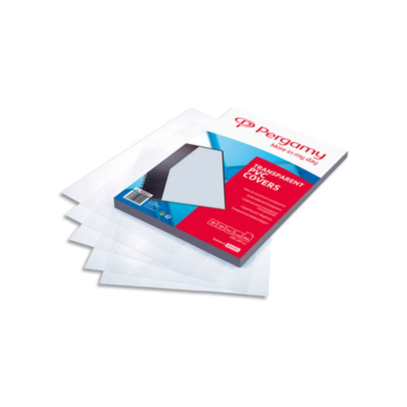 PERGAMY Boîte de 100 plats de couverture PVC A4 180 microns transparents 900051