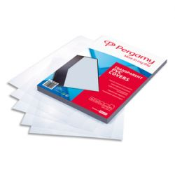 PERGAMY Boîte de 100 plats de couverture PVC A4 200 microns transparents 900050