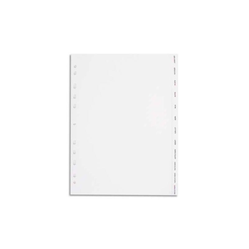 PERGAMY Jeu 12 intercalaires mensuels Janvier-Décembre polypropylène format A4. Coloris blanc