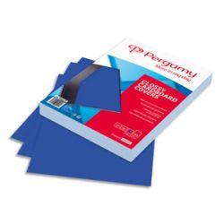 PERGAMY Boîte de 100 plats de couverture brillants A4 250gr Bleu 900029