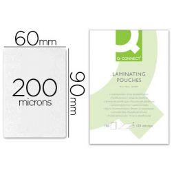 Pochette plastification q-connect économique plastification chaud format 90x60mm 200 microns boîte 100 unités