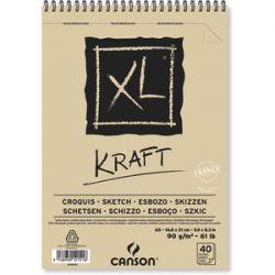 CANSON Album spiralé de 40 feuilles de papier dessin XL KRAFT, format A5, 90G
