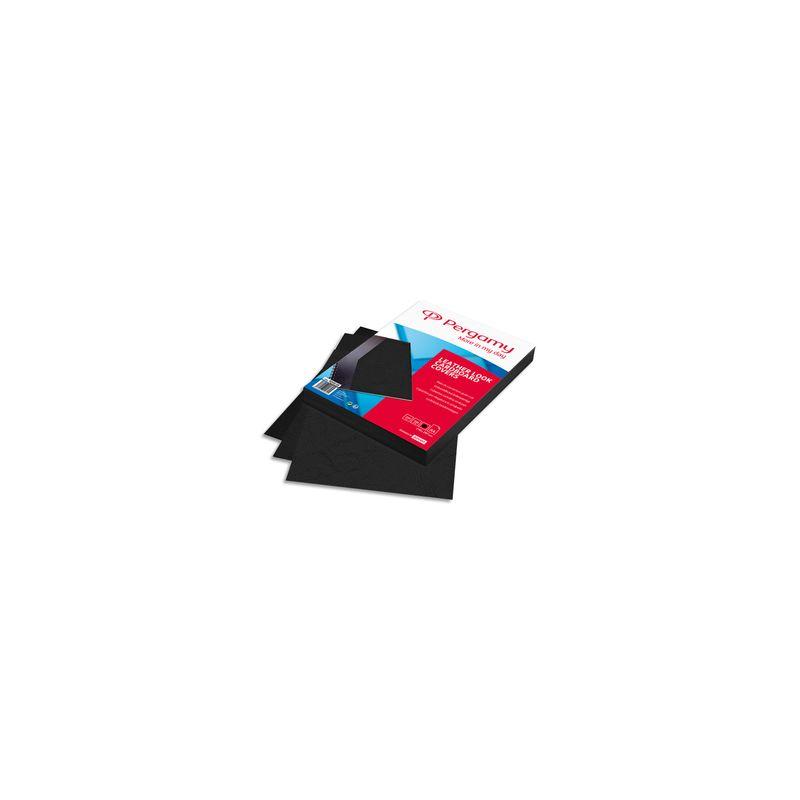 PERGAMY Boîte de 100 plats de couverture grain cuir A4 250gr Noir 900038