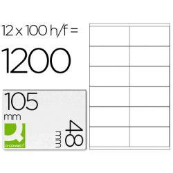 Étiquette adhésive q-connect 105x48mm coins droits imprimante jet d'encre laser copieur boîte 100 feuilles 1200 unités