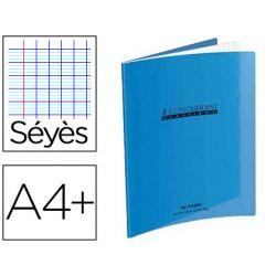 Cahier piqué conquérant classique couverture polypropylène rigide transparente a4+ 24x32cm 96 pages 90g séyès bleu