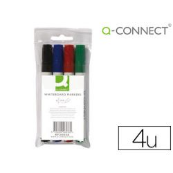 Marqueur q-connect tableau blanc pointe ogive tracé 3mm corps plastique encre base alcool pochette 4 unités assorties