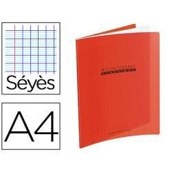 Cahier piqué conquérant classique couverture polypropylène rigide transparente a4 21x29,7cm 96 pages 90g séyès rouge