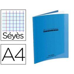 Cahier piqué conquérant classique couverture polypropylène rigide transparente a4 21x29,7cm 96 pages 90g séyès bleu