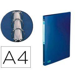 Classeur elba memphis 4 anneaux ronds 15mm polypropylène 5/10e toucher satiné dos 20mm étiquette dos coloris bleu