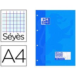 Bloc cours oxford feuilles encollées détachables papier satiné extra blanc a4 210x290mm 200 pages 90g séyès 4 trous