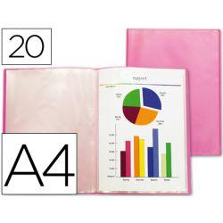Protège-documents liderpapel polypropylène couverture flexible 20 pochettes fixes a4 210x297mm rouge frosty translucide