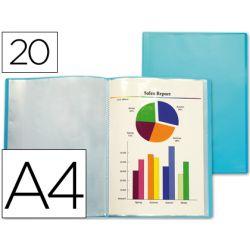 Protège-documents liderpapel polypropylène couverture flexible 20 pochettes fixes coloris bleu frosty translucide