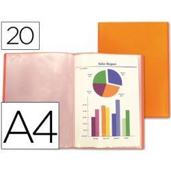 Protège-documents liderpapel polypropylène couverture flexible 20 pochettes fixes coloris orange frosty translucide