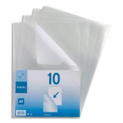 VIQUEL Sachet 10 pochettes coin PP grainé 13/100e. Coloris incolore