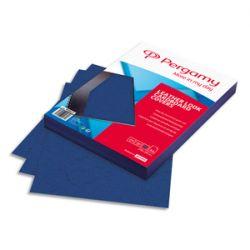 PERGAMY Boîte de 100 plats de couverture grain cuir A4 250gr Bleu 900037
