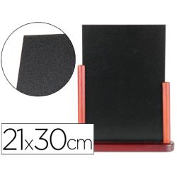 Tableau noir liderpapel bois hôtellerie double face marqueur type craie 21x30cm