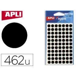 Pastille adhésive apli agipa diamètre 8mm permanente coloris noir pochette 462 unités