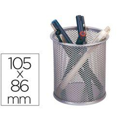 Pot à crayons q-connect maille métallique hauteur 105mm diamètre 70mm coloris argent