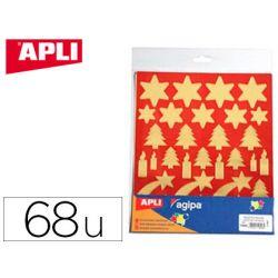 Gommette noël apli agipa coloris or fond rouge pochette 68 unités