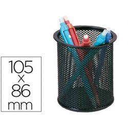 Pot à crayons q-connect maille métallique hauteur 105mm diamètre 70mm coloris noir