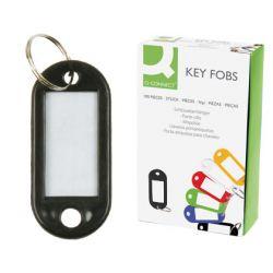 Porte-clés q-connect porte-étiquette plastique 50x22mm coloris noir présentoir 100 unités