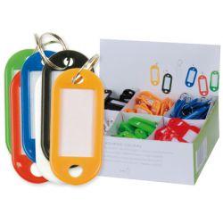 Porte-clés q-connect porte-étiquette plastique 50x22mm 5 coloris assortis présentoir 100 unités