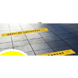 Lot de 4 sticker signalitique au sol 7010-40 jaune