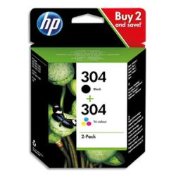 HP Pack 2 cartouches Jet d'encre Noir + 3 couleurs 304 3JB05AE