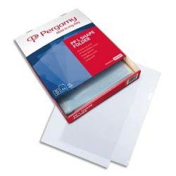 PERGAMY Boîte 100 pochettes coin polypropylène grainé 14/100ème format A4. Coloris incolore