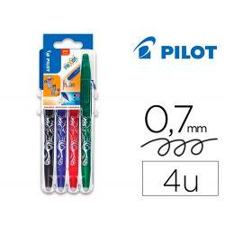 PILOT Evolutive Set de 4 rollers FriXion Ball pointe moyenne 0,7mm. Assortis Noir, Bleu, Rouge, Vert