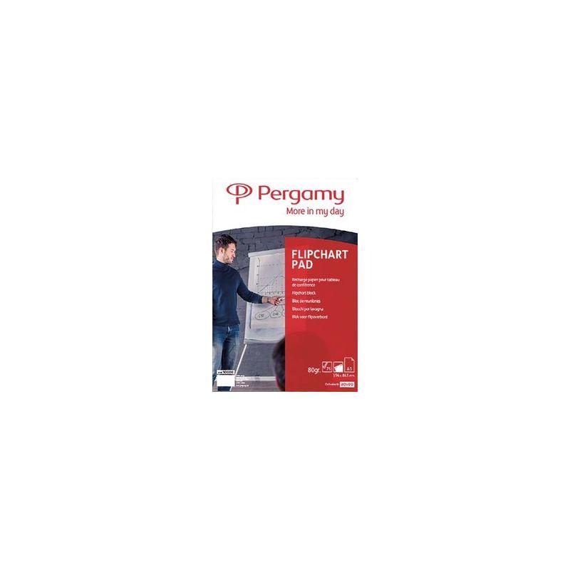PERGAMY Recharge papier pour chevalets, Rouleau de 50 feuilles 70g Blanches Unies, Format L65 x H98 cm