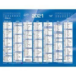 QUO VADIS Calendrier 7 mois par face avec vacances scolaires en haut, format 13,5 x 18 cm Bleu