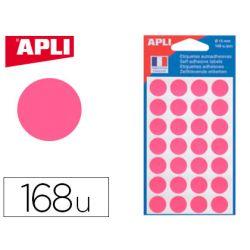 Pastille adhésive apli agipa diamètre 15mm permanente coloris rose pochette 168 unités