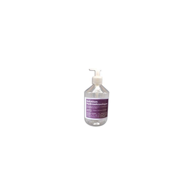 Flacon 500 ml+Pompe solution hydroalcoolique pour l'antiseptie mains et surfaces
